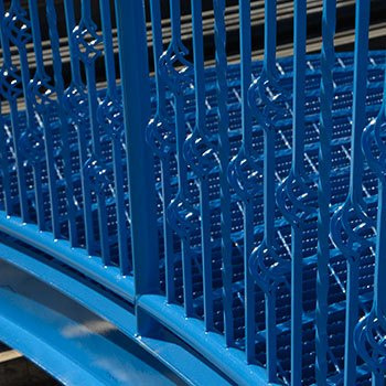 Railings with a blue industrial coating